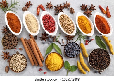 Colorful and aromatic spices and herbs. Food additives.
