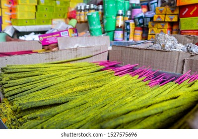 Colorful and aromatic,hand rolled joss sticks and various assortments of aromatic substances on sale at Mysurus most prominent old market.