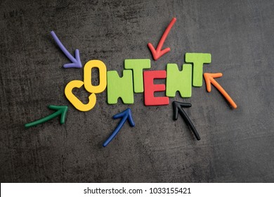 Colorful arrows pointing to the word CONTENT at the center on black cement wall, content is king in advertising and communication concept,  creativity of using content on website and social media.