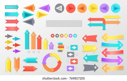 Colorful arrows for schemes and infographics small and big, long and short, in circles and rectangles  illustrations set.