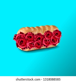Colorful art collage. Sandwich with roses.