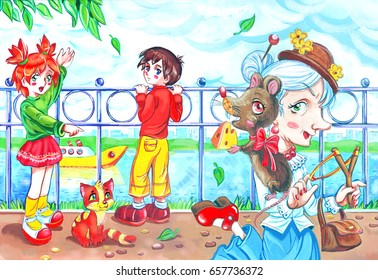Colorful artistic illiustration of an old cartoon woman and her pet mouse and two kids looking and pointing at her