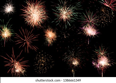 Colorful assorted fireworks selection on a black background