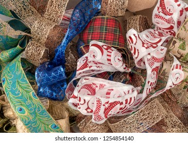 Colorful Assorted Red,White Blue, Green Christmas Wrapping, Decorating, Bow Making Ribbons