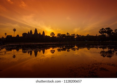 Colorful atmosphere and the sunrise at Angkor Wat.