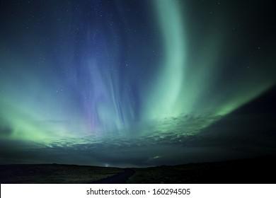 Colorful Aurora display in western Iceland