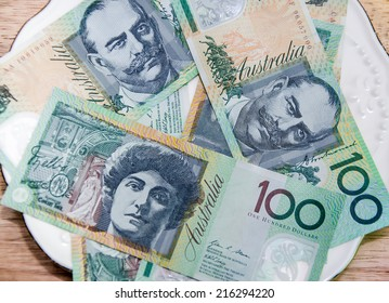 Colorful of Australian Currency on white plate