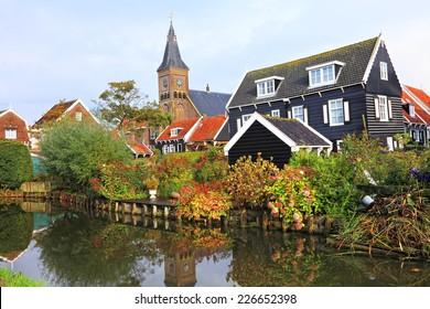 Colorful authentic dutch village landscape - Marken Island Marken, Netherlands