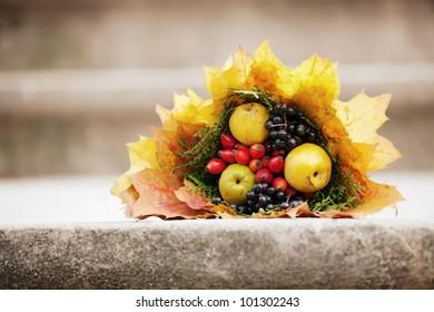 colorful autumn bouquet closeup