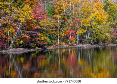Colorful Autumn foilage overlooking this pond in Allaire State Park in New Jersey.