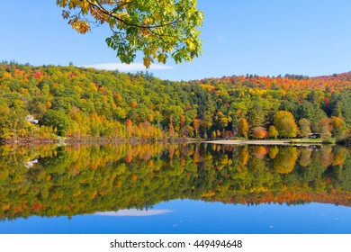 colorful autumn foliage by lake side in vermont