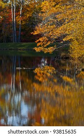 Colorful autumn foliage reflection in lake