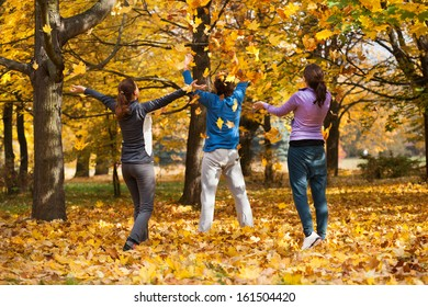 Colorful autumn fun after outdoor sport in park
