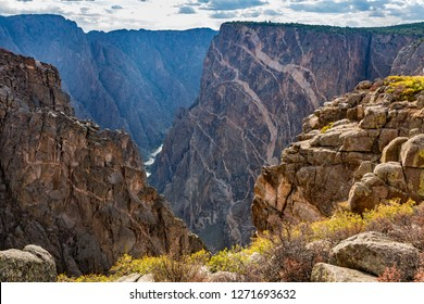 Colorful Autumn groundcover on the rim of the Black Canyon of the Gunnison, Colorado.
