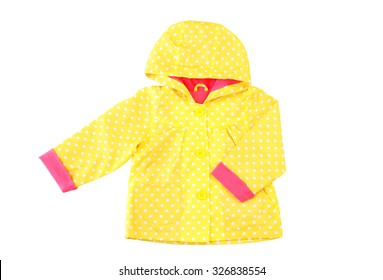 Colorful autumn jacket isolated on white. Clothing for rainy weather, protection from water. Walking in the rain