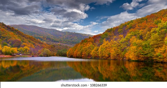 Colorful autumn landscape in the mountains with lake