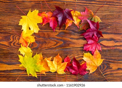 colorful autumn leaves on a wood background