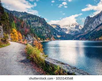 Colorful autumn scene of Vorderer (Gosausee) lake with Dachstein glacier on background. Fabulous morning view of Austrian Alps, Upper Austria, Europe. Orton Effect.