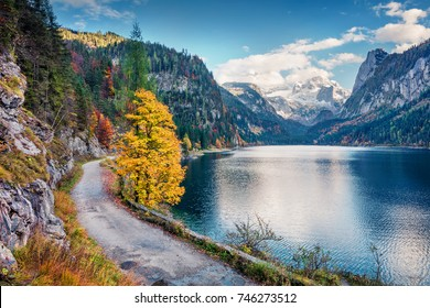 Colorful autumn scene of Vorderer ( Gosausee ) lake with Dachstein glacieron background. Picturesque morning view of Austrian Alps, Upper Austria, Europe. Traveling concept background.