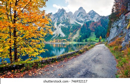 Colorful autumn scene of Vorderer ( Gosausee ) lake. Picturesque morning view of Austrian Alps, Upper Austria, Europe. Beauty of nature concept background.
