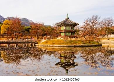 colorful autumn scenery of hyangwonjeong pavilion in autumn gyeongbokgung palace seoul south korea