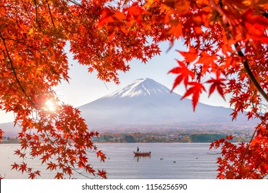 Colorful autumn season and Mountain Fuji with red leaves at lake Kawaguchiko in Japan