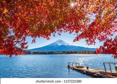 Colorful autumn season and Mountain Fuji with red leaves at lake Kawaguchiko in Japan