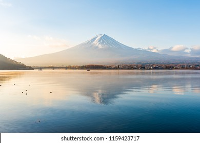 Colorful autumn season and Mountain Fuji in morning time at lake Kawaguchiko in Japan