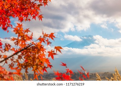 Colorful autumn season & Mountain Fuji in morning fog and red leaves at lake Kawaguchiko, Japan Mountain Fuji with colorful red maple leaves from Kawaguchi Lake - Yamanashi, Japan