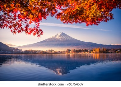 Colorful Autumn Season and Mountain Fuji with morning fog and red leaves at lake Kawaguchiko is one of the best places in Japan