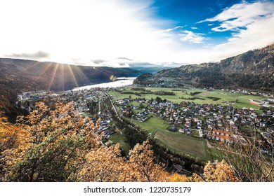 Colorful Autumn Sunset Panorama View To Doebriach & Lake MIllstatt In Carinthia Austria