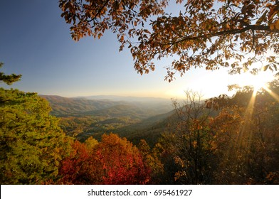 A colorful Autumn sunset view from the overlook below Look Rock on Foothills Parkway West near Great Smoky Mountains National Park, Tennessee, USA.
