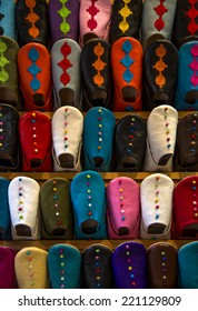 Colorful babiuches at souk in Marrakech, Morocco