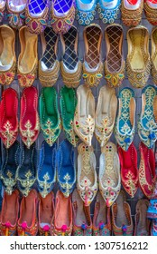 Colorful babouche slippers in Dubai souks, Unied Arab Emirates