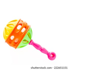 Colorful baby rattle on isolated on white background