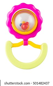 Colorful, baby rattle. On white, isolated background.Top view. Flat lay.