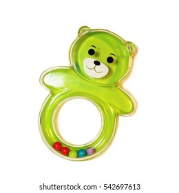 colorful baby rattle toy on a white background