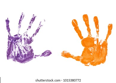 Colorful baby's handprints isolated on white background