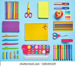 Colorful Back to School background on a blue background