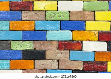 Colorful background with brick walls