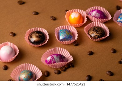 Colorful background with chocolate bonbons
