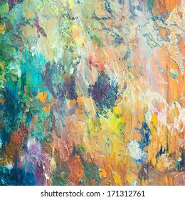 Colorful background made oil paints on a wooden background