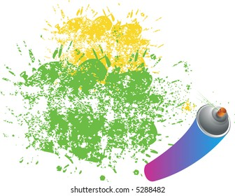 Colorful background with paint spray can, grunge illustration