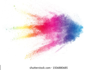 Colorful background of pastel powder explosion.Multi colored dust splash on white background.Painted Holi.