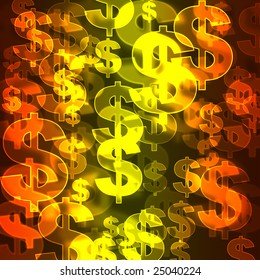 colorful background with symbol of dollars