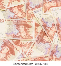 Colorful background and texture of five hundred Swedish Krona currency,money got profit from business