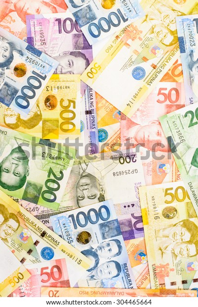 Colorful Background Texture Philippines Currency Stock Photo