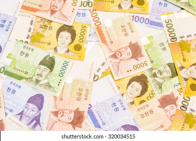 Colorful background and texture of South Korean won currency,money got profit from business