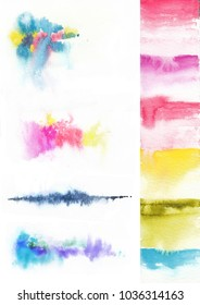 Colorful background with watercolor bright splashes, cool spring or summer background for beautiful design