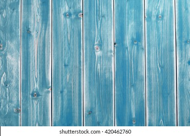 Colorful Background of Weathered Blue Painted Wooden Planks with Copy Space